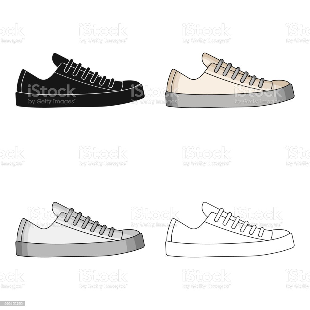 white sneakers unisex lace up. Shoes for sports and daily life.Different shoes single icon in cartoon style vector symbol stock web illustration. - Векторная графика Атлет роялти-фри