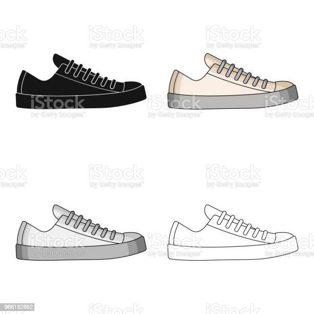 White Sneakers Unisex Lace Up Shoes For Sports And Daily Lifedifferent Shoes Single Icon In Cartoon Style Vector Symbol Stock Web Illustration — стоковая векторная графика и другие изображения на тему Атлет