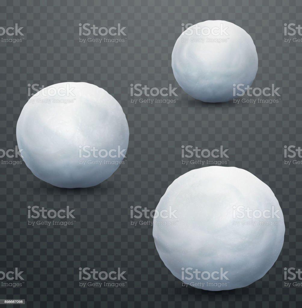 White snow ball. Realistic snow mass. Winter decoration vector art illustration