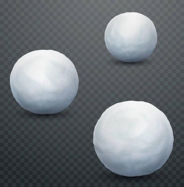 illustrazioni stock, clip art, cartoni animati e icone di tendenza di white snow ball. realistic snow mass. winter decoration - grandine