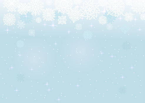 White snow on the blue mesh background, winter and Christmas theme. Abstract vector card with snowflakes.
