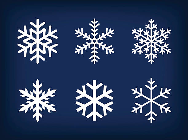 white snowflakes on dark blue background White set of snowflakes on dark blue background. backgrounds symbols stock illustrations