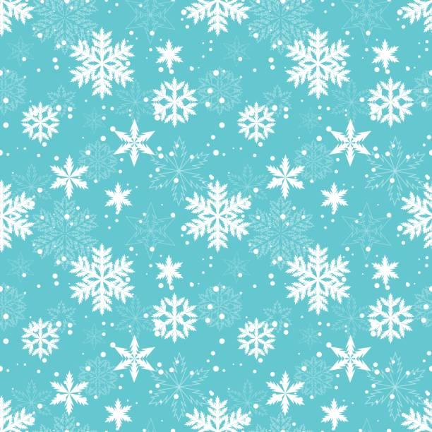 white snowflakes vector seamless pattern - snowflake background stock illustrations