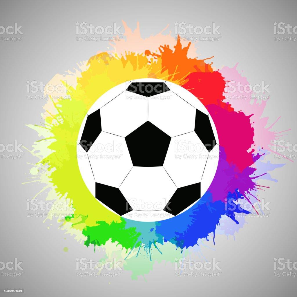 Sulu Boya Gökkuşağı Sprey Ile Beyaz Futbol Topu Stok Vektör Sanatı