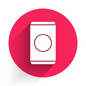 White Soda can with drinking straw icon isolated with long shadow. Red circle button. Vector Illustration