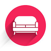 istock White Sofa icon isolated with long shadow. Red circle button. Vector Illustration 1223021868