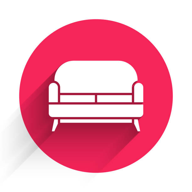 White Sofa icon isolated with long shadow. Red circle button. Vector Illustration White Sofa icon isolated with long shadow. Red circle button. Vector Illustration business clipart stock illustrations
