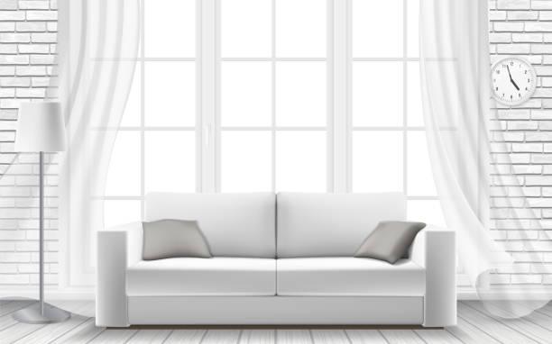 ilustrações de stock, clip art, desenhos animados e ícones de white sofa large window in a brick wall - living room background
