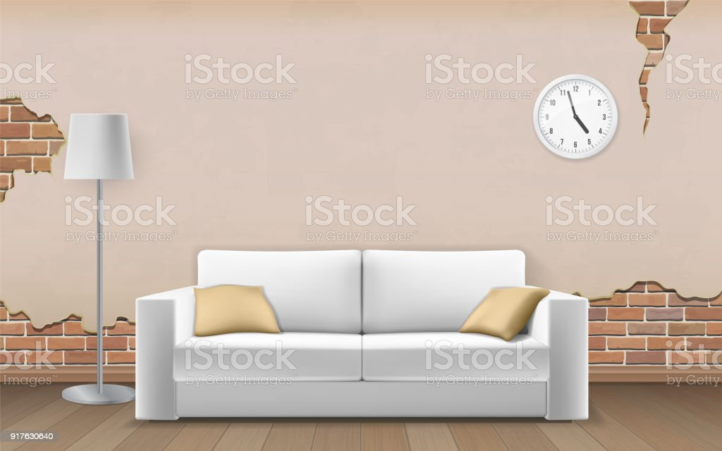Terrific White Sofa On Old Wall Background Stock Illustration Gamerscity Chair Design For Home Gamerscityorg