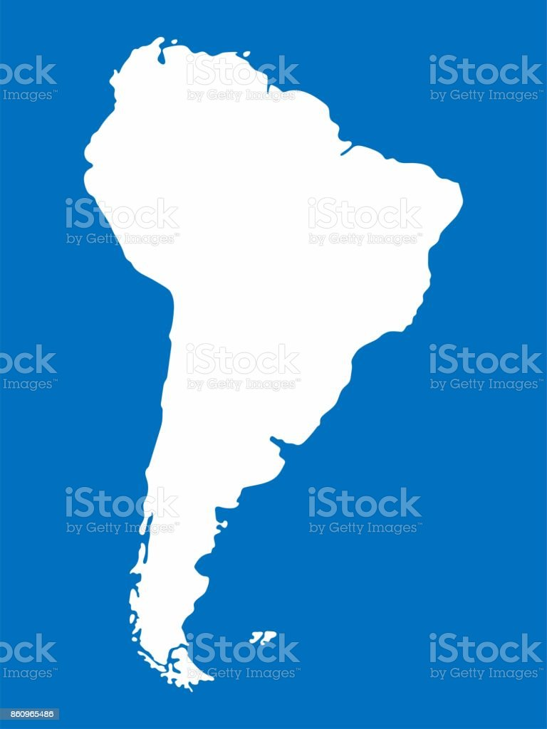Map Of South America 2017.White South America Map On Blue Background Vector Illustration Stock