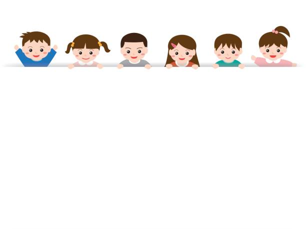 stockillustraties, clipart, cartoons en iconen met witruimtes met kinderen - kinderdag