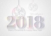 2018 white sparkling background.  Happy new year greeting card with numbers 2018 and christmas baubles. Elegant Christmas silver background.  Vector illustration.