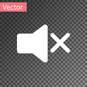 White Speaker mute icon isolated on transparent background. No sound icon. Volume Off symbol. Vector Illustration
