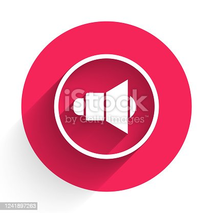 istock White Speaker volume, audio voice sound symbol, media music icon isolated with long shadow. Red circle button. Vector Illustration 1241897263