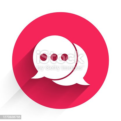 White Speech bubble chat icon isolated with long shadow. Message icon. Communication or comment chat symbol. Red circle button. Vector Illustration