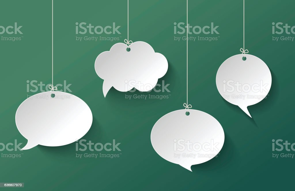 White Speech Bubble Hanging on the Green Background - ilustração de arte em vetor