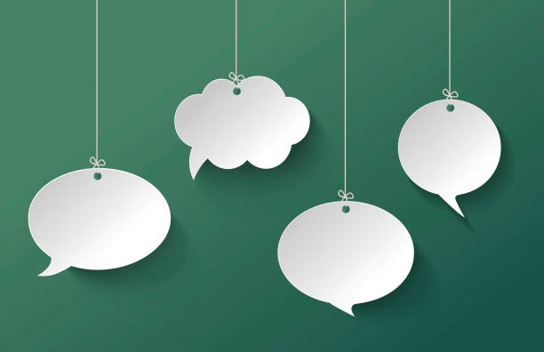 white speech bubble hanging on the green background - speech bubble stock illustrations, clip art, cartoons, & icons