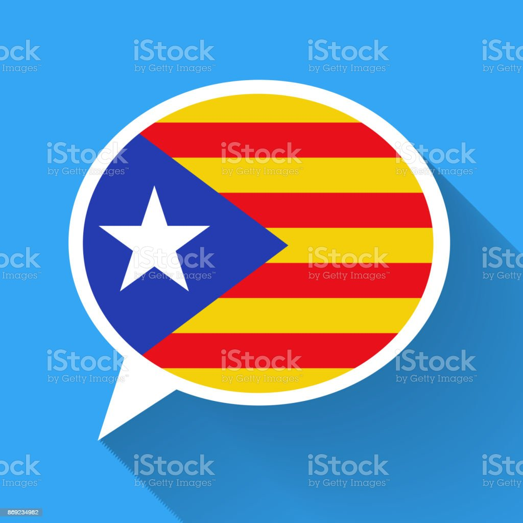 White speech bubble with Catalonia flag and long shadow on blue background. Catalan language conceptual illustration vector art illustration