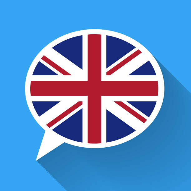 white speech bubble with great britain flag - 잉글랜드 문화 stock illustrations