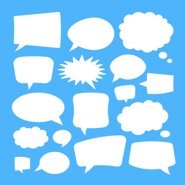 White speech bubbles isolated on blue background. Vector illustration vector art illustration