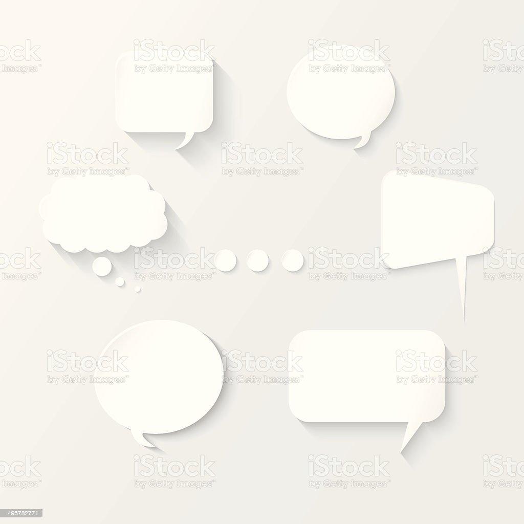 White Speech Bubbles Set vector art illustration