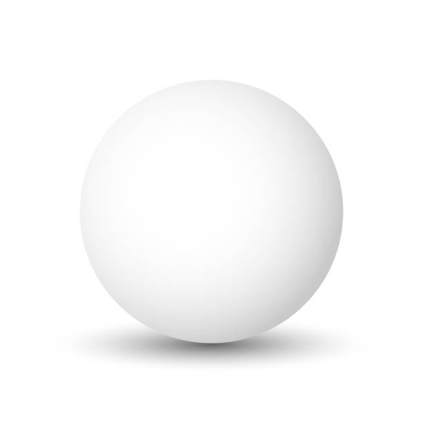White sphere, ball or orb. 3D vector object with dropped shadow on white background vector art illustration
