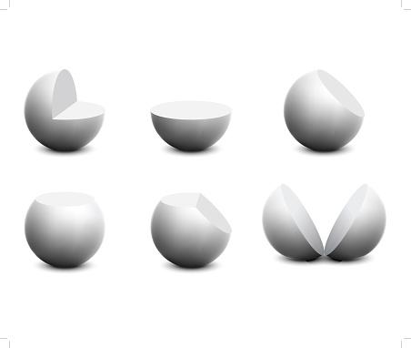 White sphere, cutaway sphere