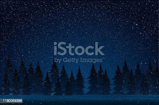 Falling snow vector. White splash on blue background. Winter snowfall hand drawn spray texture. Forest during a snow storm at night. Christmas tree. Universe, cosmos, outer space.