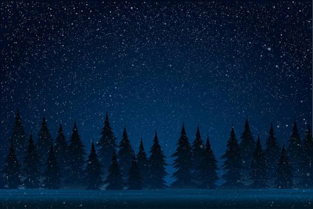 weißer spritzer auf blauem hintergrund. wald bei einem schneesturm in der nacht. weihnachtsbaum. - himmel stock-grafiken, -clipart, -cartoons und -symbole
