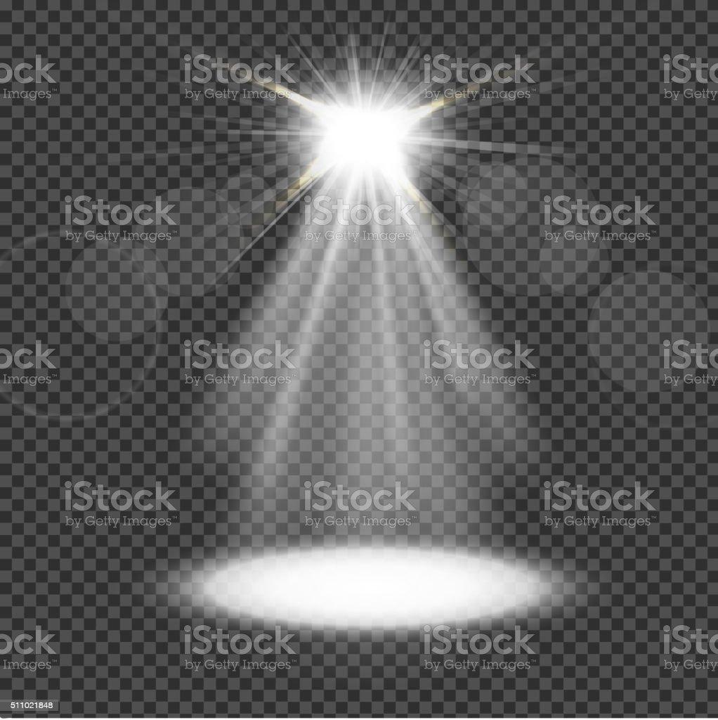 White spotlight on transparency background vector art illustration