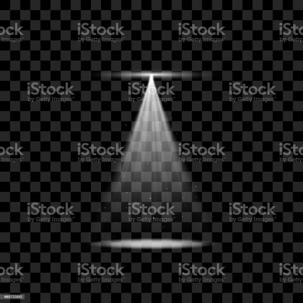 White Spotlight with Sparkles and Glowing vector art illustration