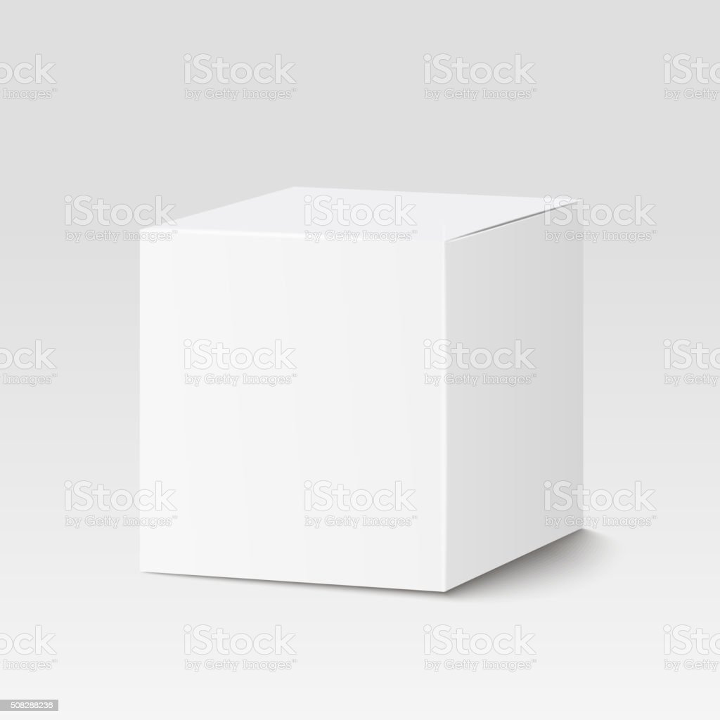 White square box. Cardboard box, container, packaging. Vector illustration vektör sanat illüstrasyonu