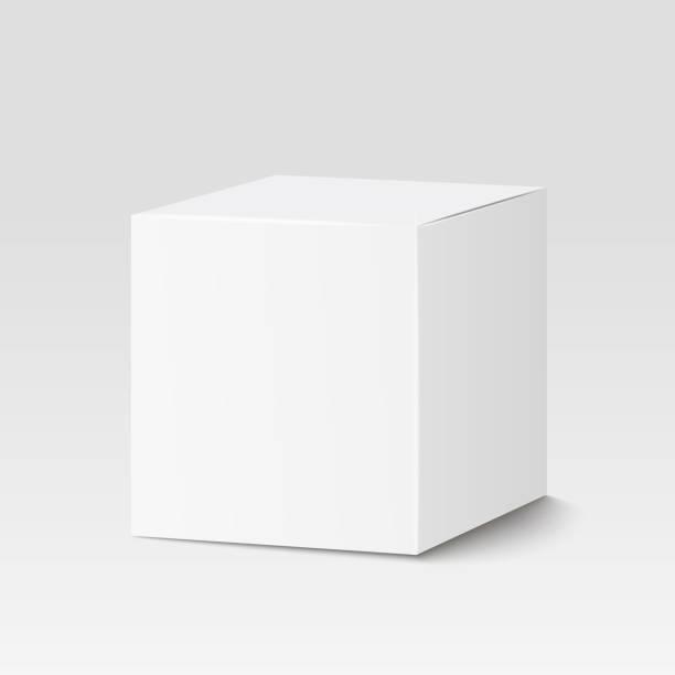 Weiße rechteckige im Feld. Pappkarton, Container, Verpackung. Vektor-illustration – Vektorgrafik