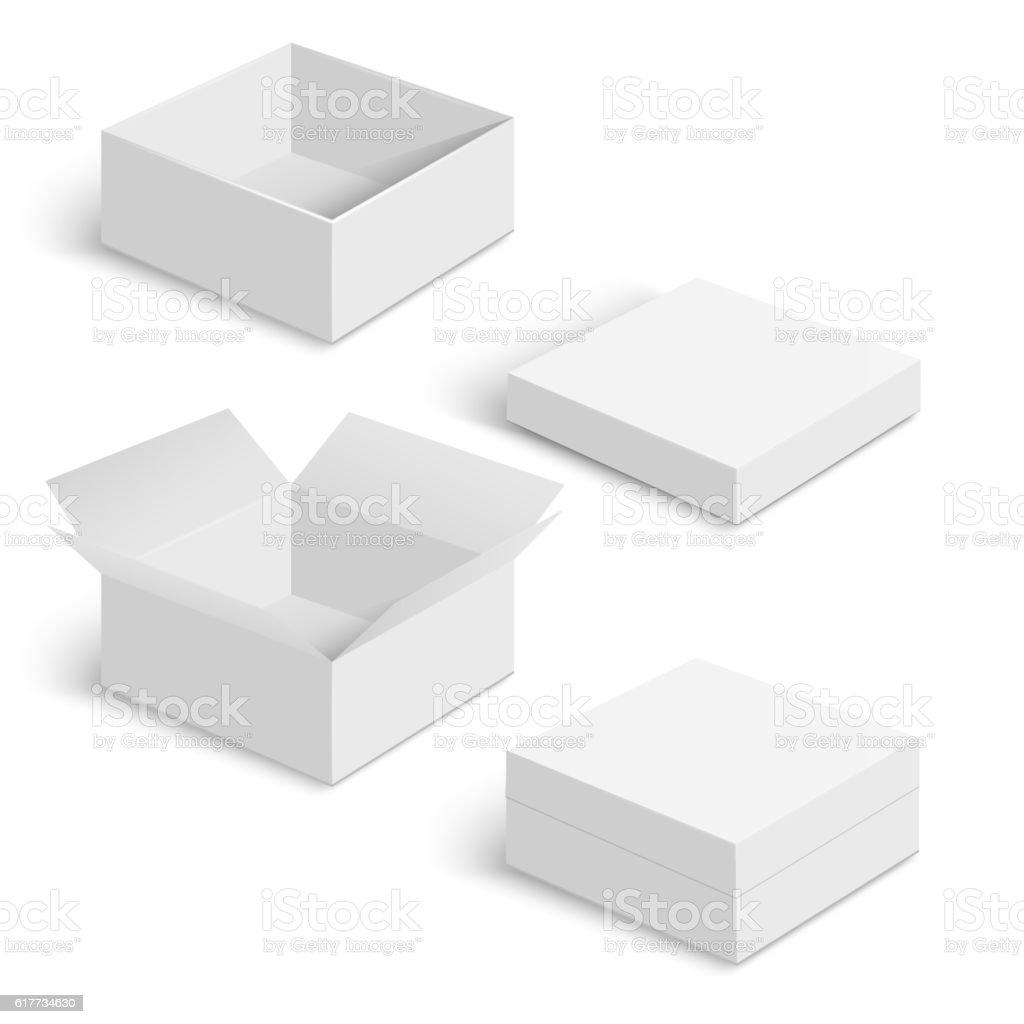 White square box vector templates set
