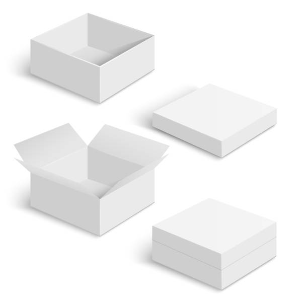 white square box vector templates set - karton zbiornik stock illustrations