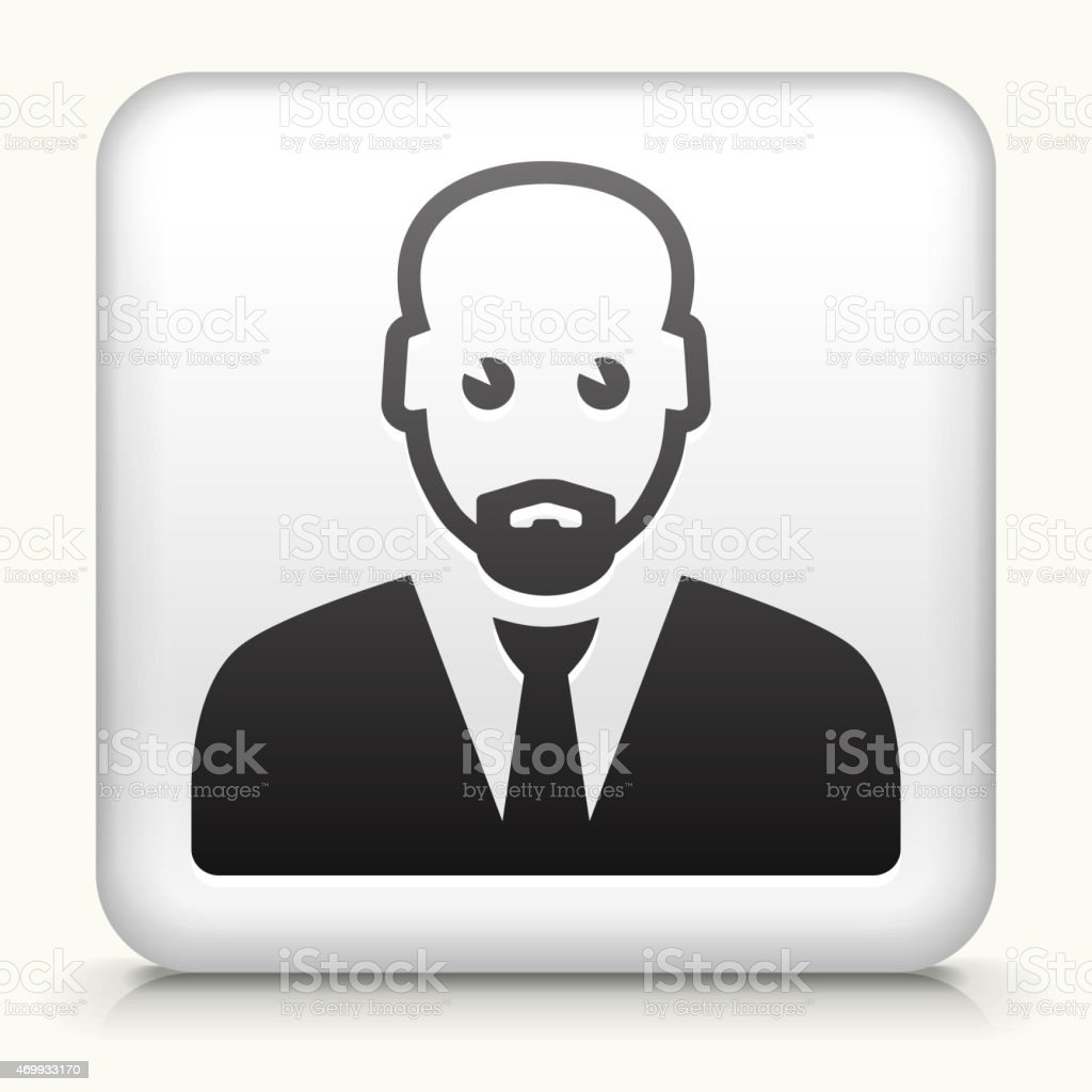 White Square Button with Male Face Icon vector art illustration