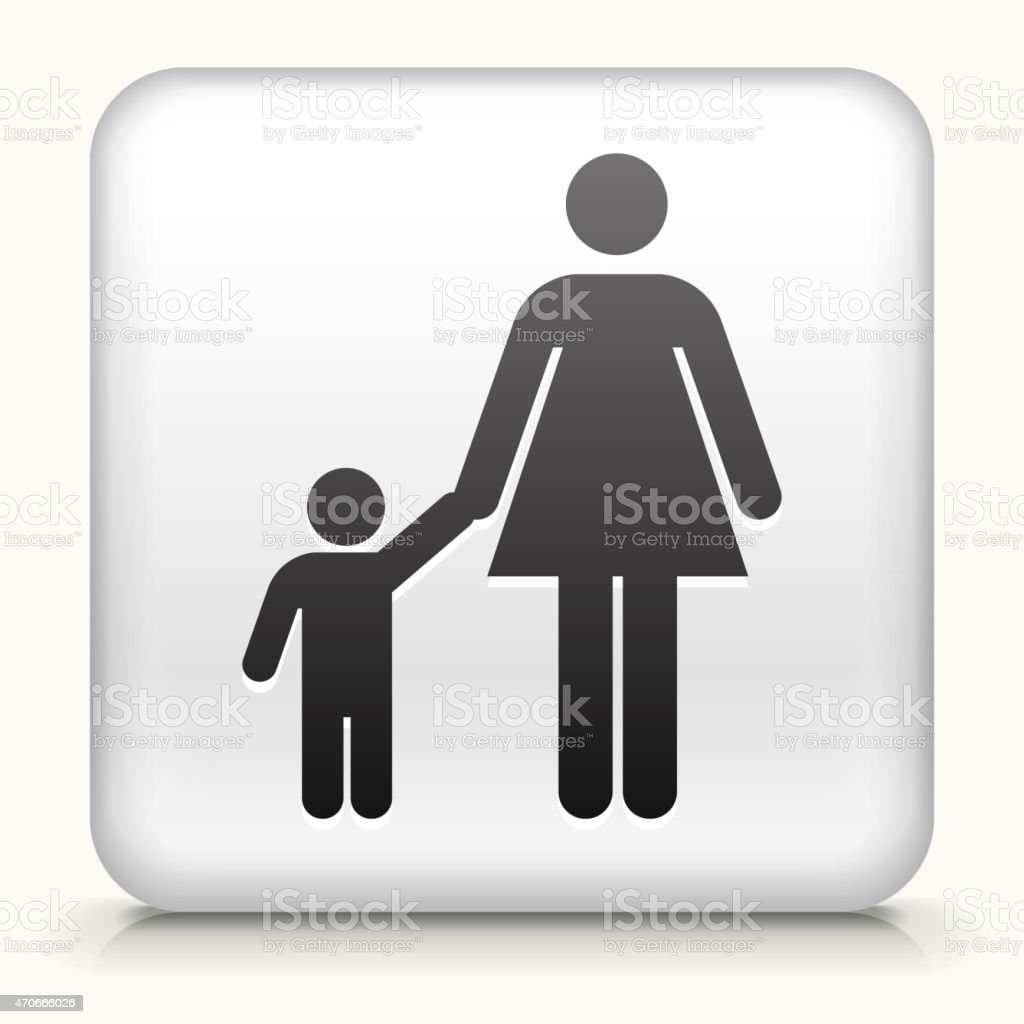 White Square Button with Mother & Boy Icon vector art illustration