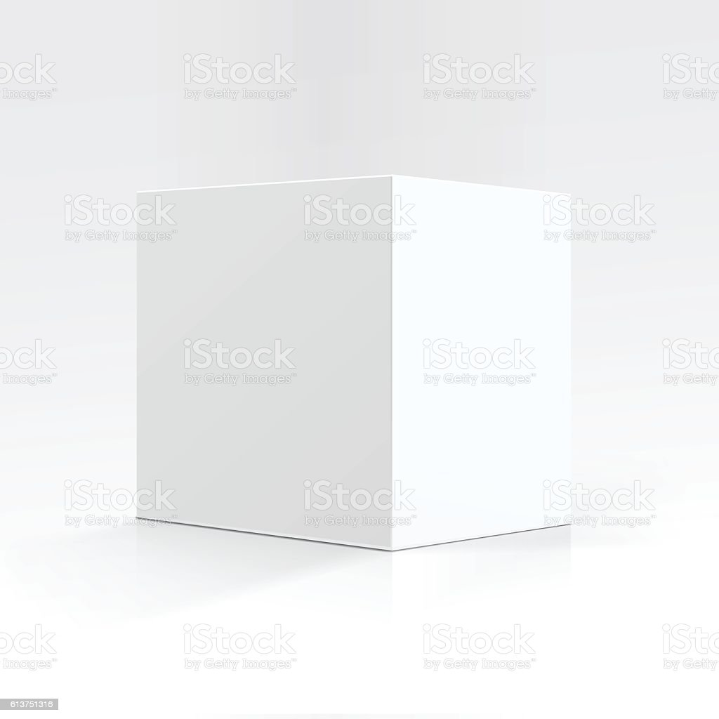 White Square Carton box in Perspective Isolated