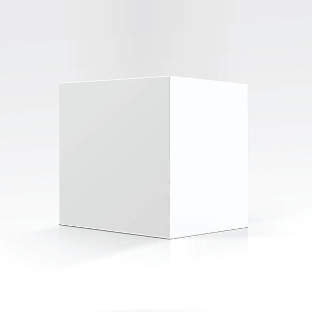 White Square Carton box in Perspective Isolated Vector Blank White Square Carton box in Perspective for package design Close up Isolated on White Background cube shape stock illustrations