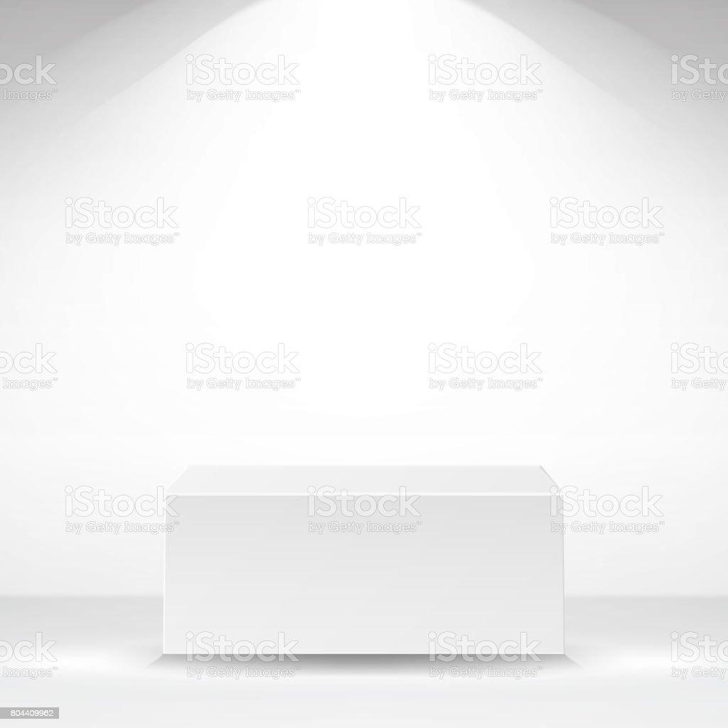 Vetor de plataforma do quadrado branco. Fundo branco do Interior. Ilustração vetorial - ilustração de arte em vetor