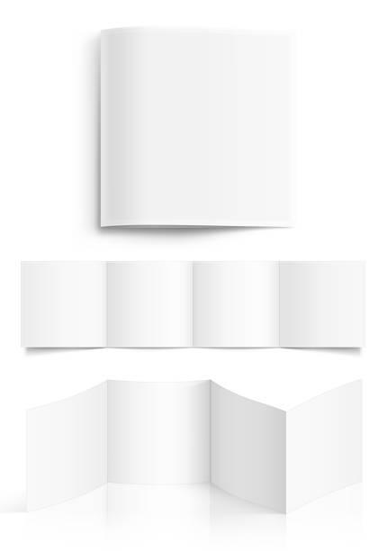 biała kwadratowa pusta broszura - broszura stock illustrations