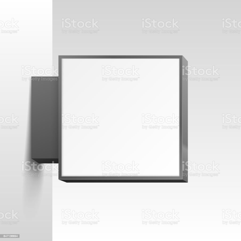 White square signboard on white background. vector art illustration