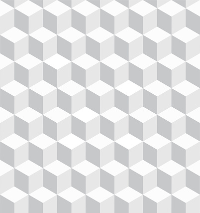 White Stacked Cubes Seamless Pattern