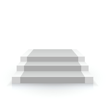 Vetores de Escada Branca Vista Frontal e mais imagens de Aprimoramento