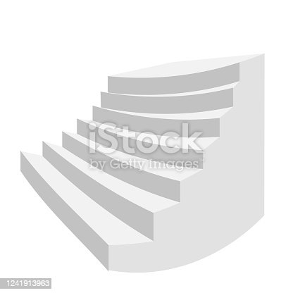 White stair. Staircase isolated, 3d stairway for interior staircases. Steps ladder architecture element vector collection