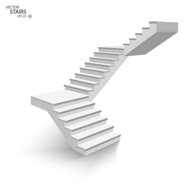 weiße treppe, 3d treppe. isoliert auf weißem hintergrund. eps10 - treppe stock-grafiken, -clipart, -cartoons und -symbole