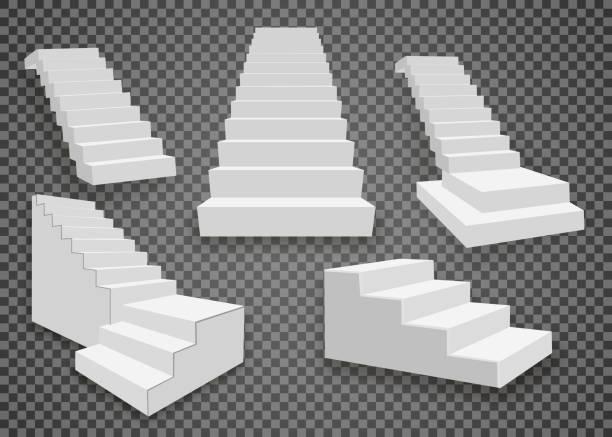 stockillustraties, clipart, cartoons en iconen met witte trap, 3d trappen. ingesteld, geïsoleerd op transparante achtergrond - tree