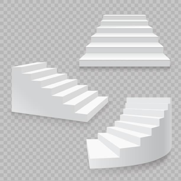 stockillustraties, clipart, cartoons en iconen met witte trap realistische geïsoleerde set. 3d-vector van trappen - tree