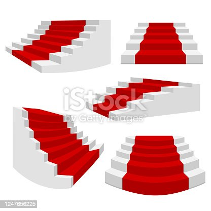 White stairs with red carpet. Staircase isolated, 3d stairway for interior staircases. Steps ladder architecture element vector collection