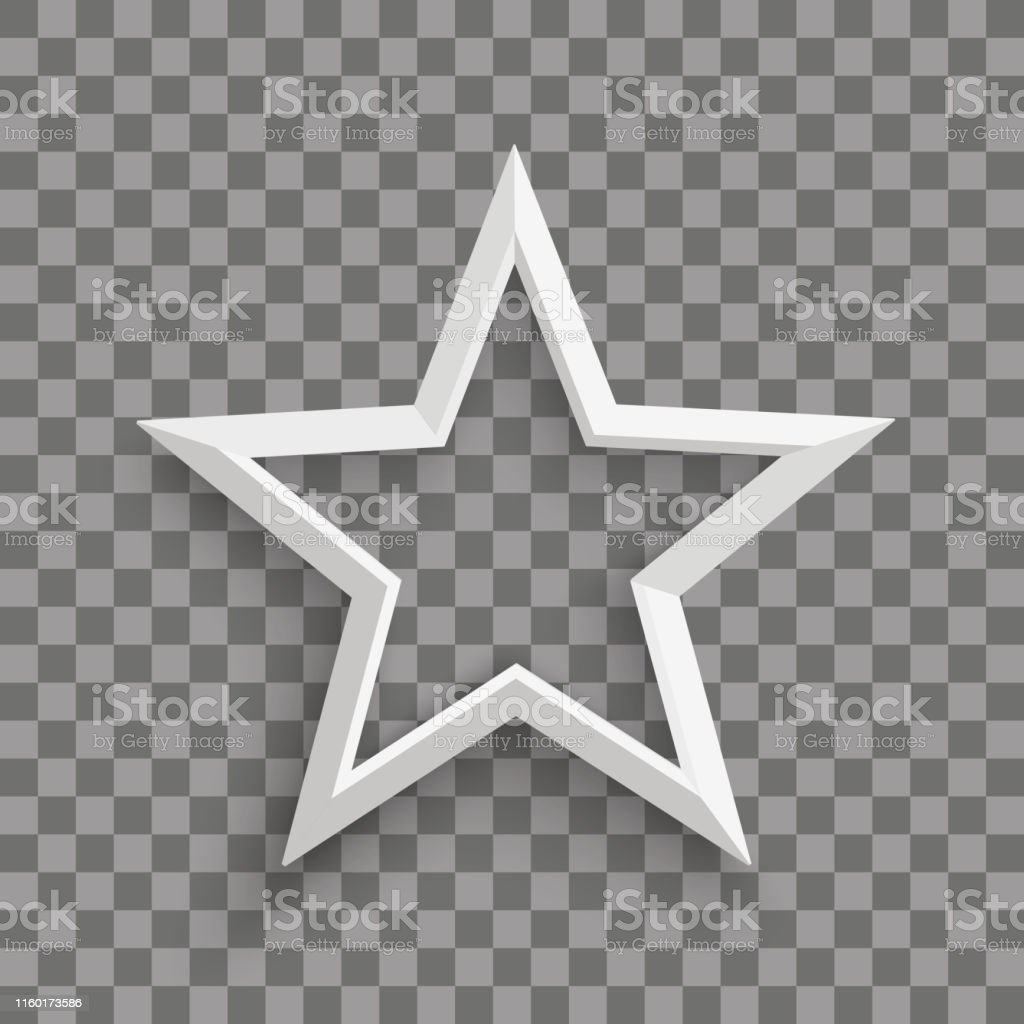 White star with shadows on the checked background. Eps 10 vector file.